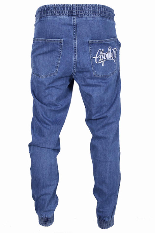 50% zniżki uroczy szczegóły Spodnie Jogger El Polako Handmade jeans light blue