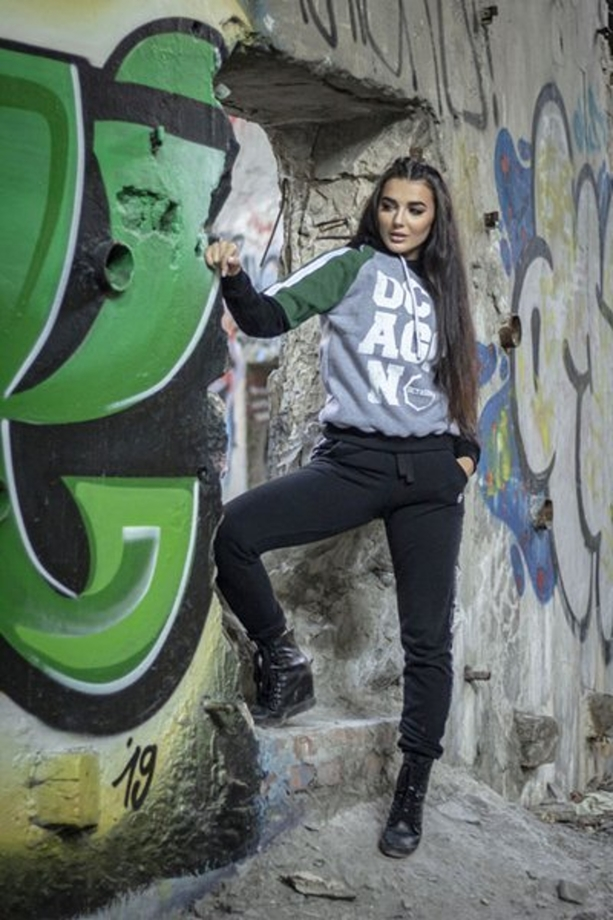 Bluza damska Octagon Limited grey/green/black hoodie