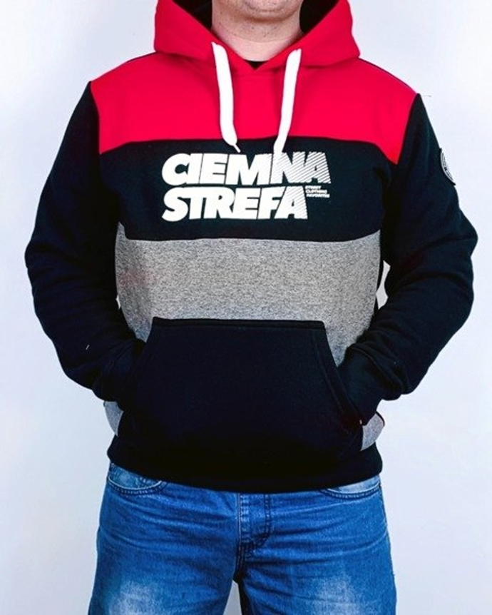 Bluza z kapturem Ciemna Strefa CS red/black/grey